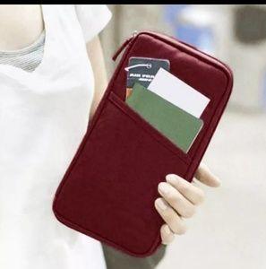 Handbags - Burgundy canvas zip around passport holder wallet